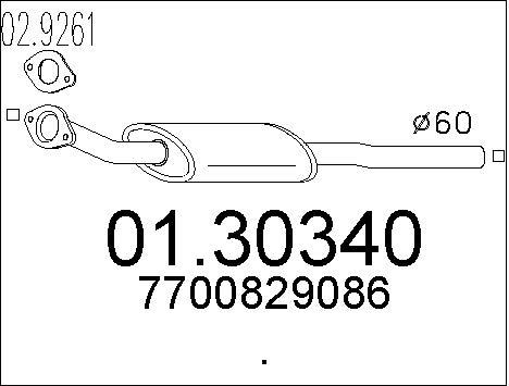 Silencieux avant MTS 01.30340 (X1)