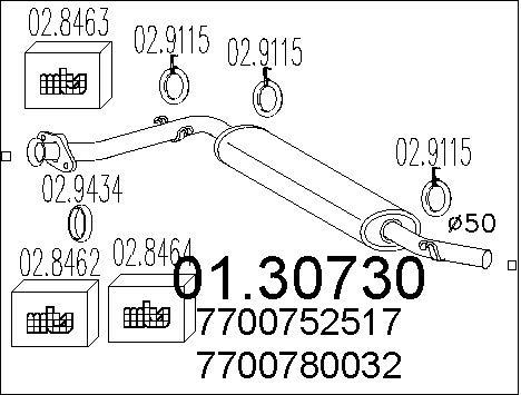 Silencieux avant MTS 01.30730 (X1)