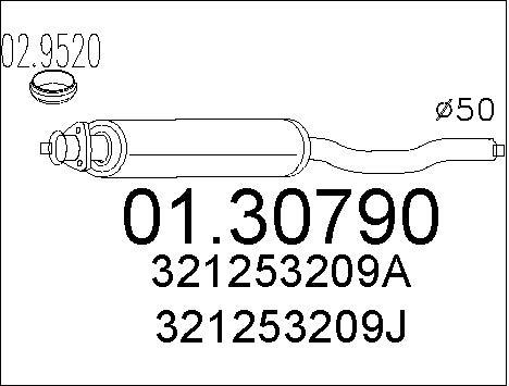 Silencieux avant MTS 01.30790 (X1)