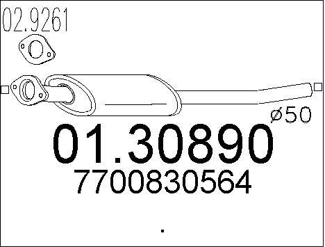 Silencieux avant MTS 01.30890 (X1)