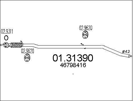 Silencieux avant MTS 01.31390 (X1)