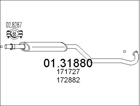Silencieux avant MTS 01.31880 (X1)