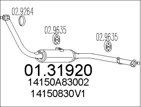 Silencieux avant MTS 01.31920 (X1)
