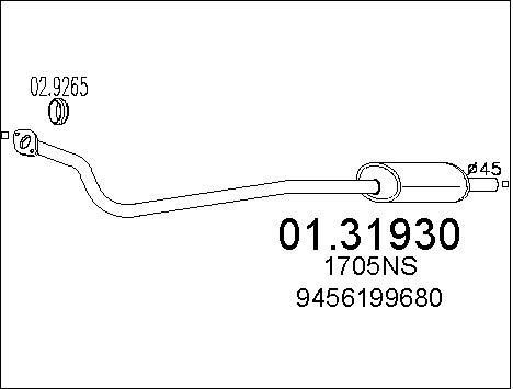 Silencieux avant MTS 01.31930 (X1)