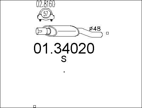 Silencieux avant MTS 01.34020 (X1)