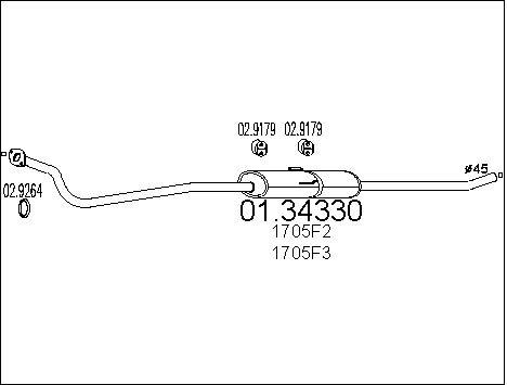 Silencieux avant MTS 01.34330 (X1)