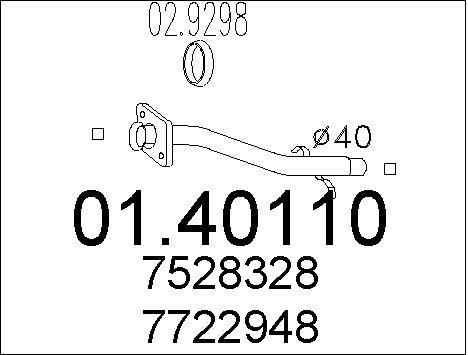Tube d'echappement MTS 01.40110 (X1)