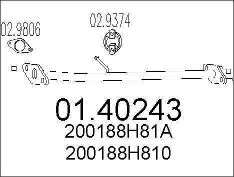 Tube d'echappement MTS 01.40243 (X1)