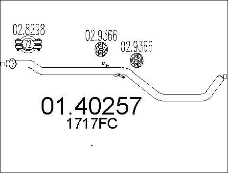Tube d'echappement MTS 01.40257 (X1)