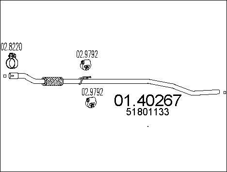 Tube d'echappement MTS 01.40267 (X1)