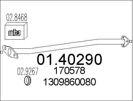 Tube d'echappement MTS 01.40290 (X1)