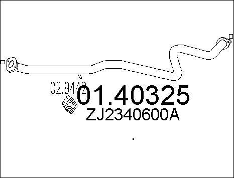 Tube d'echappement MTS 01.40325 (X1)