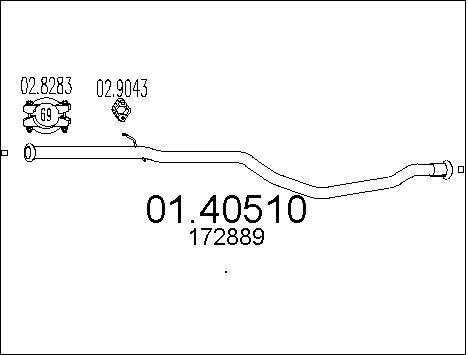 Tube d'echappement MTS 01.40510 (X1)
