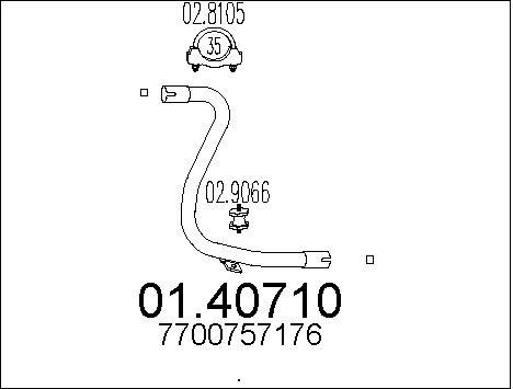 Tube d'echappement MTS 01.40710 (X1)