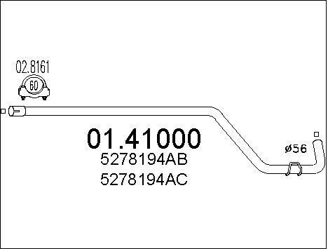 Tube d'echappement MTS 01.41000 (X1)