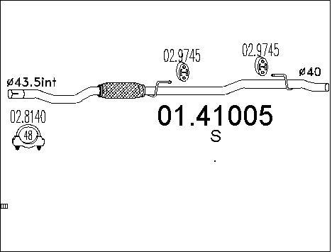 Tube d'echappement MTS 01.41005 (X1)
