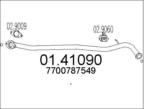 Tube d'echappement MTS 01.41090 (X1)