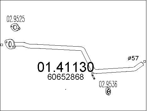 Tube d'echappement MTS 01.41130 (X1)
