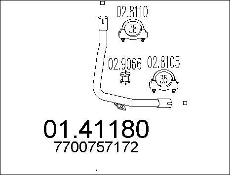 Tube d'echappement MTS 01.41180 (X1)