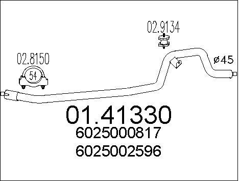 Tube d'echappement MTS 01.41330 (X1)