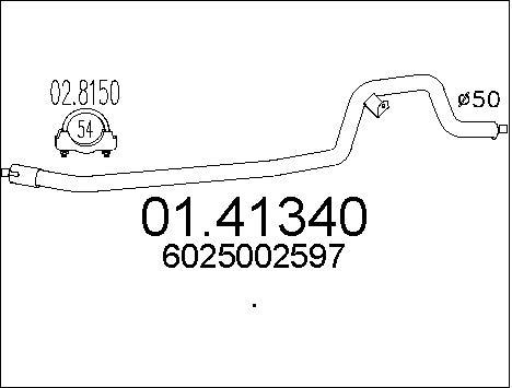 Tube d'echappement MTS 01.41340 (X1)