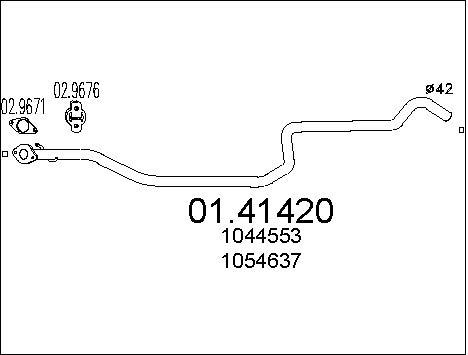 Tube d'echappement MTS 01.41420 (X1)