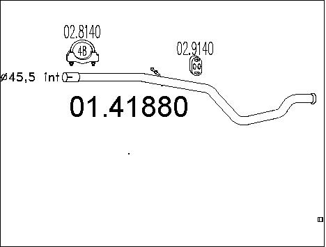 Tube d'echappement MTS 01.41880 (X1)