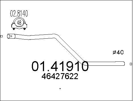 Tube d'echappement MTS 01.41910 (X1)