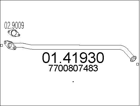 Tube d'echappement MTS 01.41930 (X1)