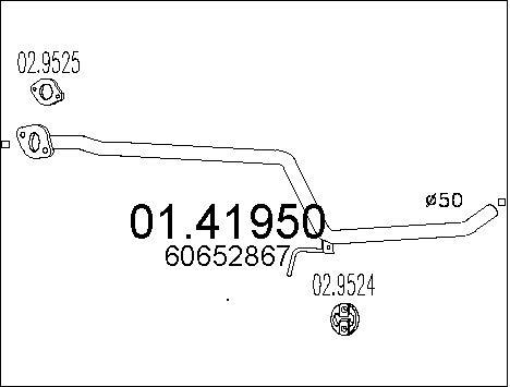 Tube d'echappement MTS 01.41950 (X1)