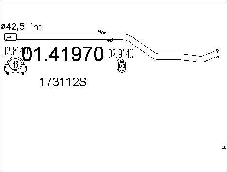 Tube d'echappement MTS 01.41970 (X1)