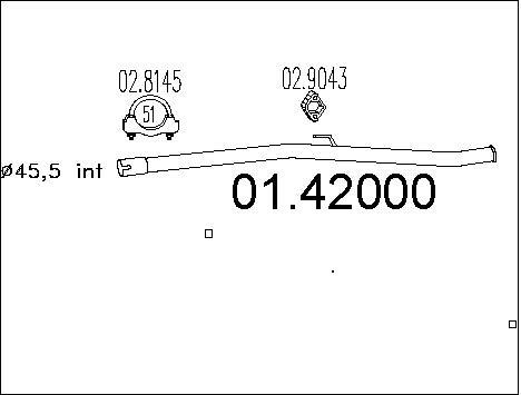 Tube d'echappement MTS 01.42000 (X1)