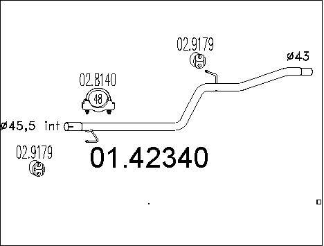 Tube d'echappement MTS 01.42340 (X1)