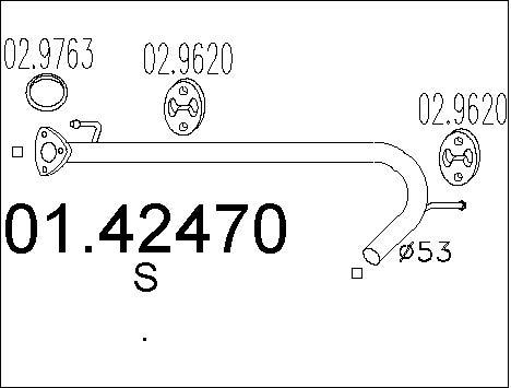Tube d'echappement MTS 01.42470 (X1)