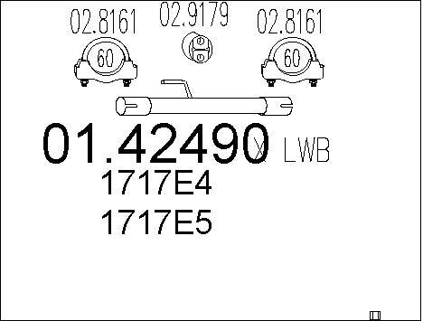 Tube d'echappement MTS 01.42490 (X1)