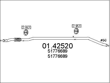 Tube d'echappement MTS 01.42520 (X1)