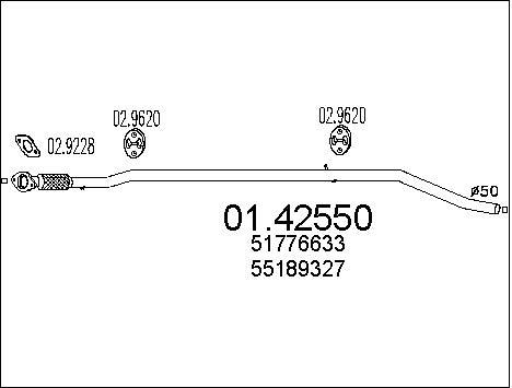 Tube d'echappement MTS 01.42550 (X1)