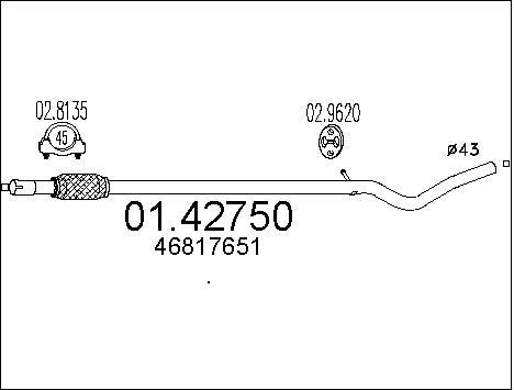 Tube d'echappement MTS 01.42750 (X1)