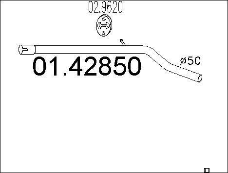 Tube d'echappement MTS 01.42850 (X1)