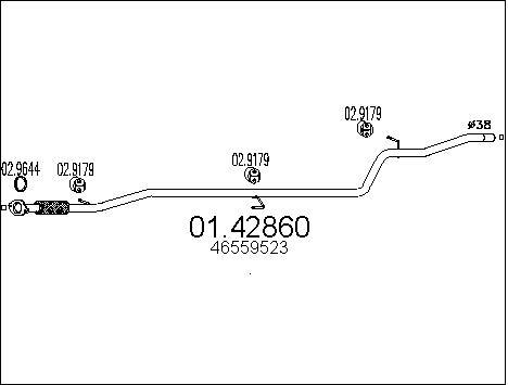 Tube d'echappement MTS 01.42860 (X1)