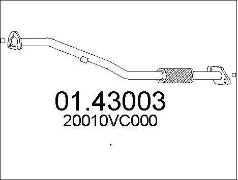 Tube d'echappement MTS 01.43003 (X1)