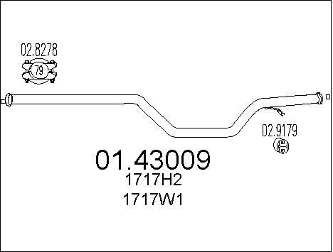 Tube d'echappement MTS 01.43009 (X1)