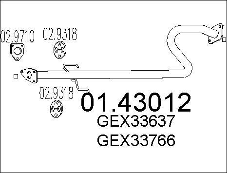 Tube d'echappement MTS 01.43012 (X1)