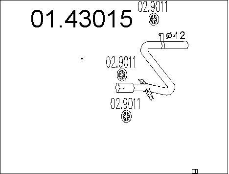 Tube d'echappement MTS 01.43015 (X1)