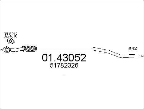 Tube d'echappement MTS 01.43052 (X1)