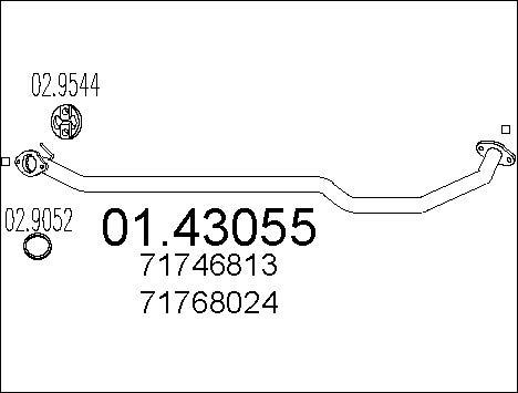 Tube d'echappement MTS 01.43055 (X1)