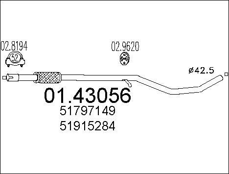 Tube d'echappement MTS 01.43056 (X1)