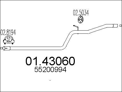 Tube d'echappement MTS 01.43060 (X1)