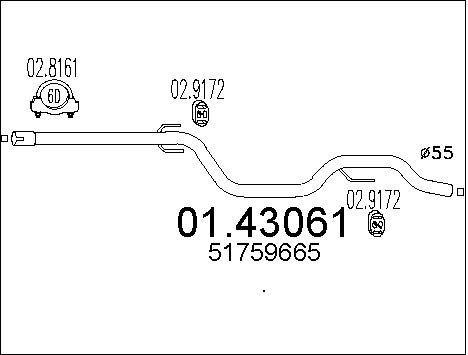 Tube d'echappement MTS 01.43061 (X1)