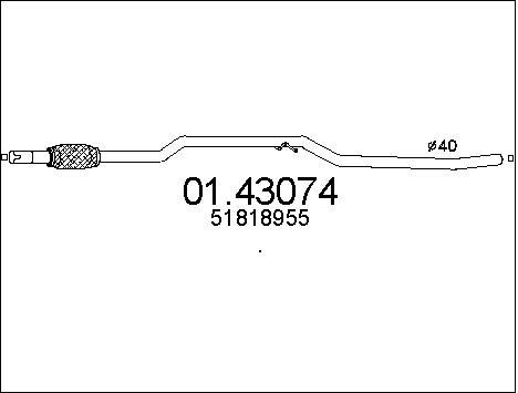 Tube d'echappement MTS 01.43074 (X1)